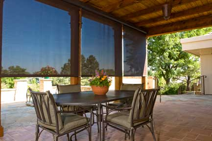Patio Shades Enhance The Use Of Outdoor Living Spaces By Filtering The Heat  And Sun While Maintaining An Airy, Open Feeling, And View To The Exterior.
